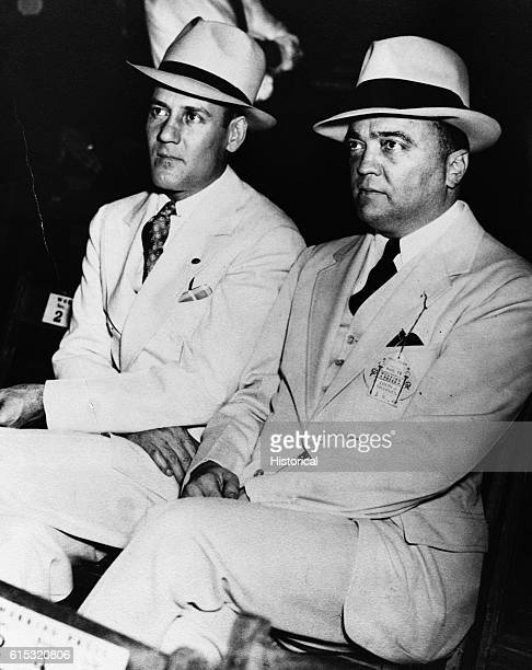 Edgar Hoover and Clyde A.Tolson watch the Louis - Sharkey fight on August 18 New York, New York. Hoover was the Director of the FBI from 1924-1972.