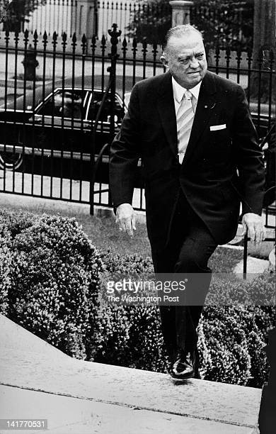 J Edgar Hoover arriving at the White House for the wedding of Tricia Nixon and Edward Finch Cox