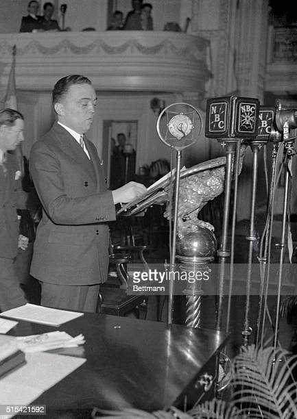 Edgar Hoover, Director of the Division of Investigation of the Department of Justice, makes an address at Constitution Hall during a session of the...