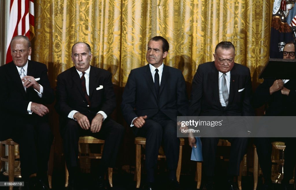 J. Edgar Hoover and White House Officials at FBI Academy : News Photo
