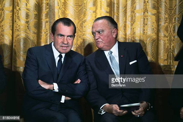 J Edgar Hoover head of the Federal Bureau of Investigation and President Nixon attend a graduation ceremony for the 83rd session of the FBI National...