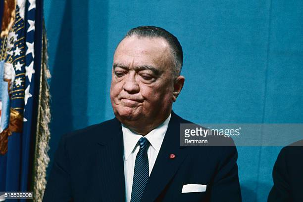 J Edgar Hoover listens to President Johnson's speech which launched the government on a long term drive to wipe out organized crime and its guerrilla...