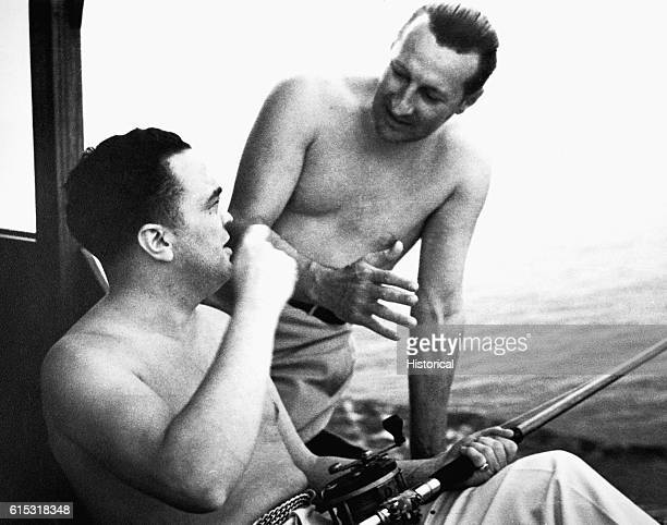 Edgar Hoover relaxes with his friend Clyde A. Tolson. Hoover was the Director of the FBI from 1924-1972.