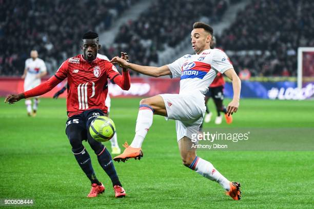 Edgar Ie of Lille and Fernando Marcal of Lyon during the Ligue 1 match between Lille OSC and Olympique Lyonnais at Stade Pierre Mauroy on February 18...