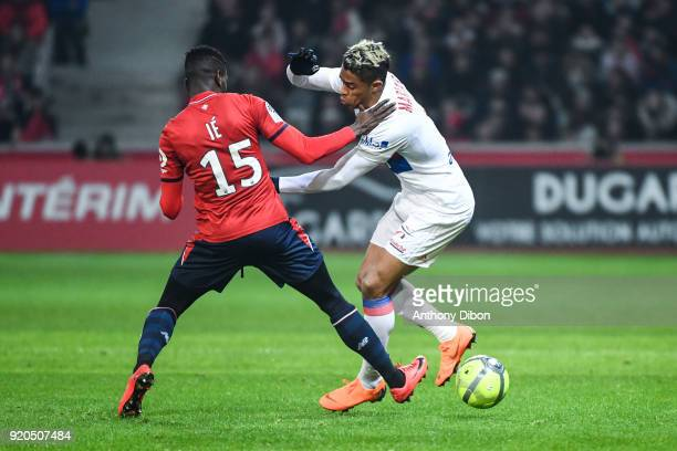 Edgar Ie of Lille and Mariano Diaz of Lyon during the Ligue 1 match between Lille OSC and Olympique Lyonnais at Stade Pierre Mauroy on February 18...