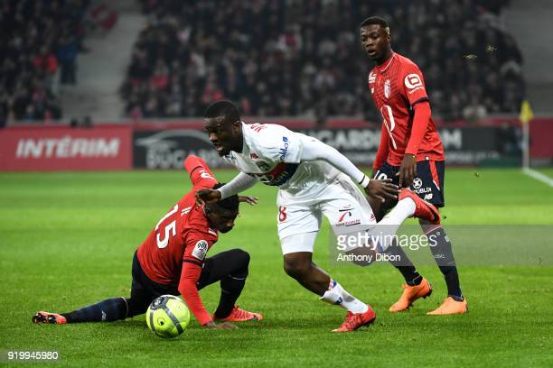Edgar Ie Tanguy Ndombele of Lyon and Fode Ballo of Lille during the Ligue 1 match between Lille OSC and Olympique Lyonnais at Stade Pierre Mauroy on...