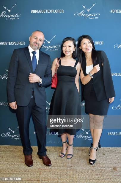Edgar Jaghinyan Tiana Xiong and Weili Yeh attend Breguet Marine Collection Launch at Little Beach House Malibu on July 11 2019 in Malibu California