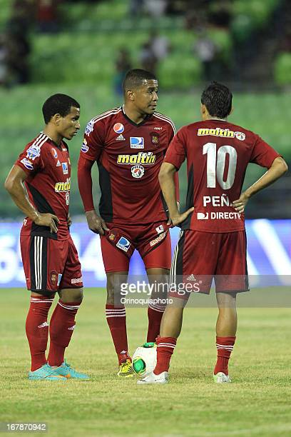 Edgar Jimenez Romulo Otero and Angelo Peña of Caracas FC during a match between Caracas FC and Deportivo Anzoategui as part of the Torneo Clausura...