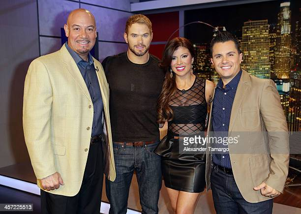 "Edgar Lopez, Kellan Lutz, Mirella Grisales and Karim Mendiburu visit Telemundo to promote the movie ""The Legend Of Hercules"" at Telemundo Studio on..."