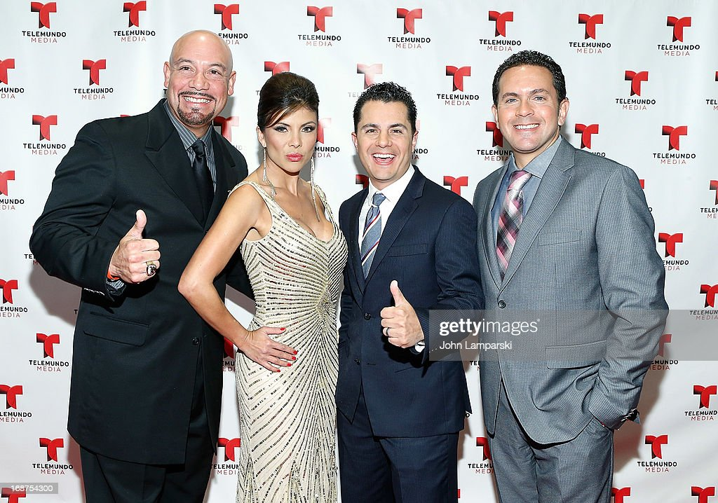 Edgar Lopez, Mirella Grisales, Karim Mendiburu and guest attend the 2013 Telemundo Upfront at Frederick P. Rose Hall, Jazz at Lincoln Center on May 14, 2013 in New York City.