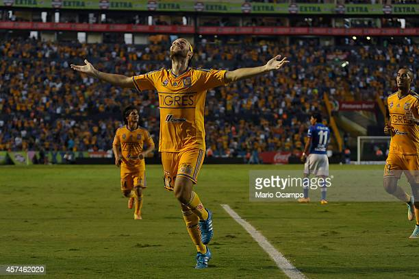 Edgar Lugo of Tigres celebrates after scoring the only goal of the game during a match between Tigres UANL and Cruz Azul as part of 13th round...