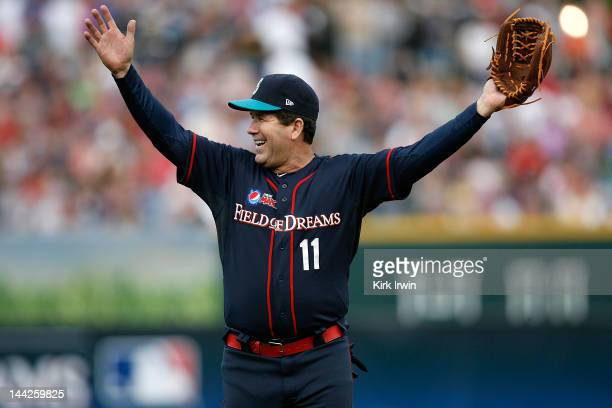 Edgar Martinez gets the crowd excited at the Pepsi MAX 'Field Of Dreams' game at Huntington Park on May 12 2012 in Columbus Ohio