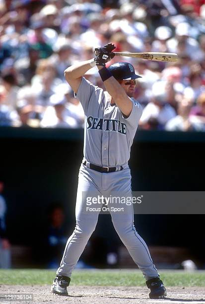 Edgar Martinez of the Seattle Mariners bats against the Baltimore Orioles during an Major League Baseball game circa 1997 at Oriole Park at Camden...