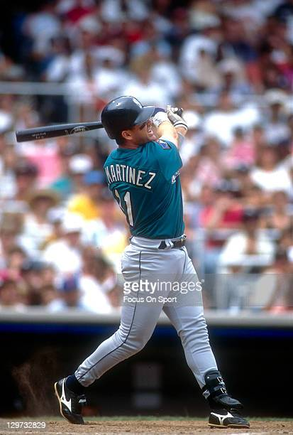 Edgar Martinez of the Seattle Mariners bats against the New York Yankees during an Major League Baseball game circa 1994 at Yankee Stadium in the...