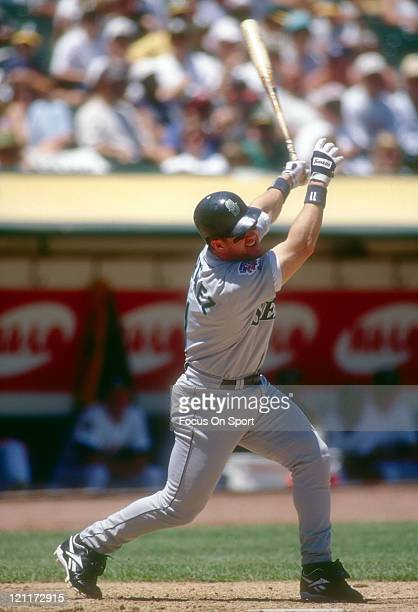 Edgar Martinez of the Seattle Mariners bats against the Oakland Athletics during an Major League Baseball game circa 1997 at the OaklandAlameda...