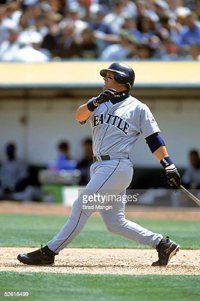 Edgar Martinez of the Seattle Mariners bats during a season game at Network Associates Coliseum in Oakland California Edgar Martinez played for the...