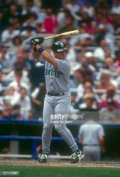 Edgar Martinez of the Seattle Mariners bats during an Major League Baseball game circa 1996 Martinez played for the Mariners from 19872004