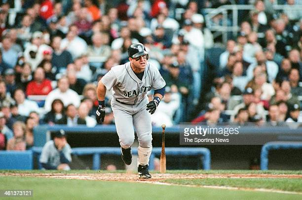 Edgar Martinez of the Seattle Mariners bats during Game Two of the American League Championship Series against the New York Yankees on October 11...
