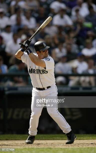 Edgar Martinez of the Seattle Mariners bats during the game against the Boston Red Sox on July 20 2004 at Safeco Field in Seattle Washington The Red...