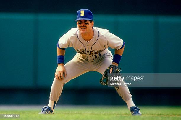 Edgar Martinez of the Seattle Mariners in position a baseball game against the Baltimore Orioles on September 5 1990 at Memorial Stadium in Baltimore...