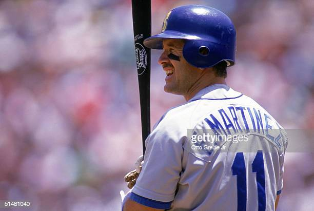 Edgar Martinez of the Seattle Mariners prepares to bat during a game against the Oakland Athletics at OaklandAlameda County Coliseum on June 24 1992...