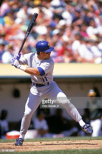 Edgar Martinez of the Seattle Mariners prepares to swing at a pitch during a game against the Oakland Athletics in April of 1991 at OaklandAlameda...