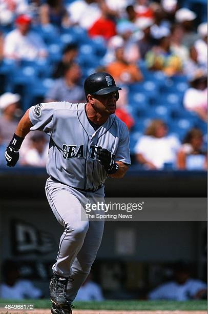 Edgar Martinez of the Seattle Mariners runs against the Chicago White Sox at Comiskey Park on August 11 2002 in Chicago Illinois