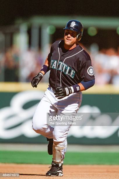 Edgar Martinez of the Seattle Mariners runs the bases during the game against the Oakland Athletics on September 23 2000 at Safeco Field in Seattle...