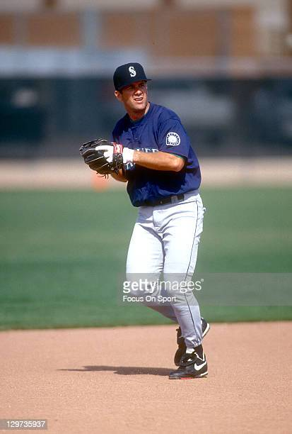 Edgar Martinez of the Seattle Mariners works out during batting practice before an Major League Baseball game against the Chicago White Sox circa...
