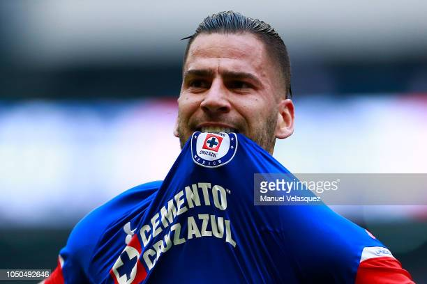 Edgar Mendez of Cruz Azul celebrates after scoring his team's first goal during the 12th rond match between Cruz Azul and Monterrey as part of the...