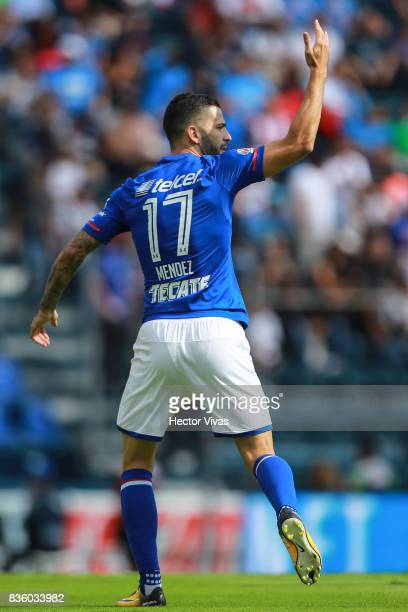 Edgar Mendez of Cruz Azul celebrates after scoring the first goal of his team during the fifth round match between Cruz Azul and Atlas as part of the...