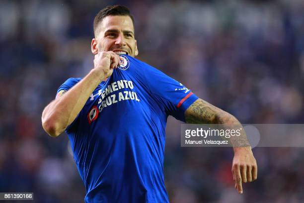 Edgar Mendez of Cruz Azul celebrates after scoring the first goal of his team during the 13th round match between Cruz Azul and America as part of...