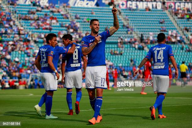 Edgar Mendez of Cruz Azul celebrates after scoring the first goal of his team during the 14th round match between Cruz Azul and Lobos BUAP at Azul...