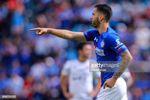 Edgar Mendez of Cruz Azul celebrates after scoring the opening goal of his team during the fifth round match between Cruz Azul and Atlas as part of...