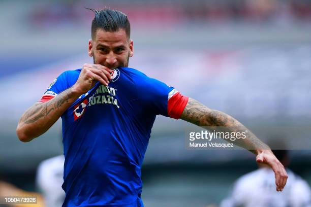 Edgar Mendez of Cruz Azul celebrates after scoring the second goal of his team during the 12th rond match between Cruz Azul and Monterrey as part of...