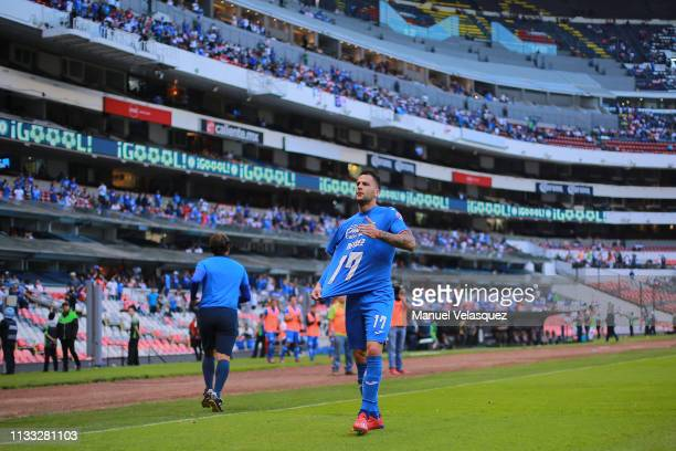 Edgar Mendez of Cruz Azul celebrates after scoring the second goal of his team during the 9th round match between Cruz Azul and Necaxa as part of the...