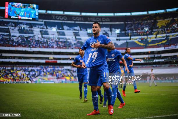 Edgar Mendez of Cruz Azul celebrates after scoring the second scored goal of his team during the 9th round match between Cruz Azul and Necaxa as part...