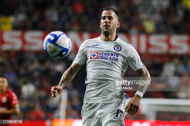 Edgar Mendez of Cruz Azul goes for the ball during the 7th round match between Tijuana and Cruz Azul as part of the Torneo Apertura 2019 Liga MX at...