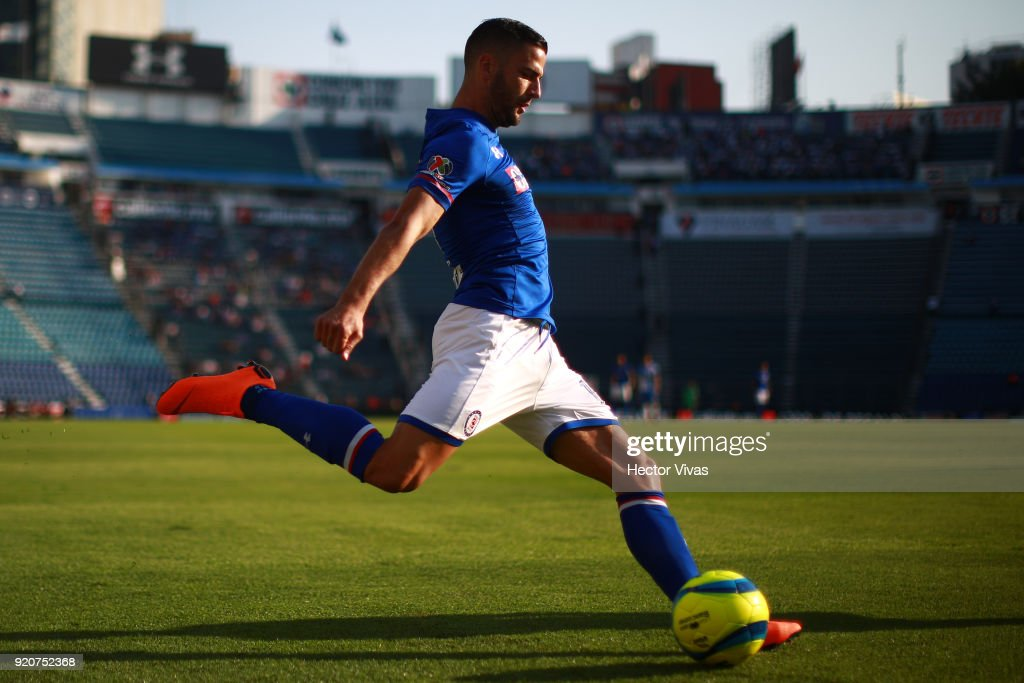 Edgar Mendez of Cruz Azul kicks the the ball during the 8th round match between Cruz Azul and Puebla as part of the Torneo Clausura 2018 Liga MX at Azul Stadium on February 17, 2018 in Mexico City, Mexico.
