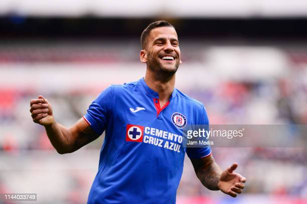 Edgar Mendez of Cruz Azul reacts during the 15th round match between Cruz Azul and Pumas UNAM as part of the Torneo Clausura 2019 Liga MX at Azteca...