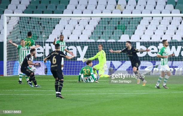 Edgar Mendez of Deportivo Alaves celebrates after scoring their side's second goal during the La Liga Santander match between Real Betis and...
