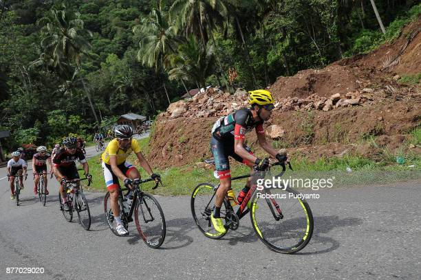 Edgar Nohales Nieto of Spain and 7 Eleven Roadbike Philippines leads the peloton during stage 4 of the Tour de Singkarak 2017 SingkarakPayakumbuh...