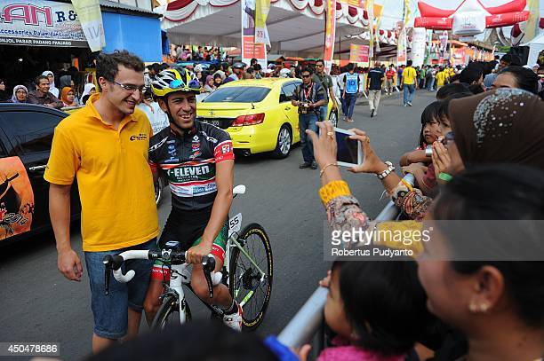 Edgar Nohales Nieto of Team 7 Eleven Roadbike Phillipine poses for a photograph before the start at stage 6 of the 2014 Tour de Singkarak from Padang...