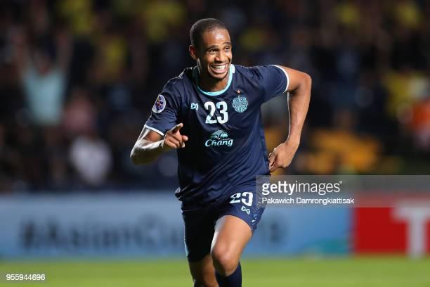 Edgar of Buriram United celebrates scoring his side's third goal during the AFC Champions League Round of 16 first leg match between Buriram United...
