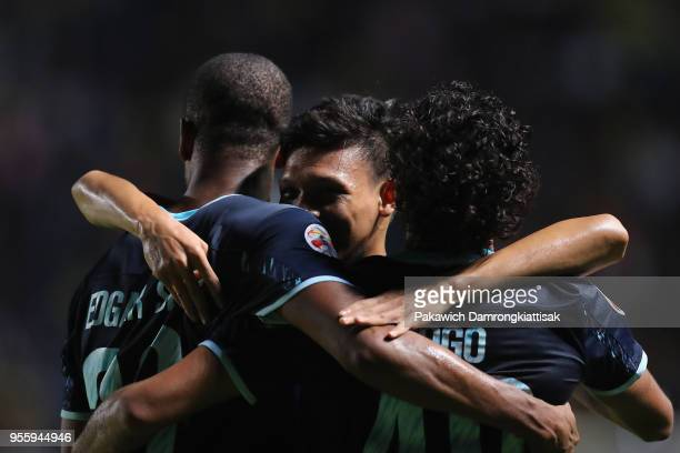 Edgar of Buriram United celebrates scoring his side's third goal with his team mates during the AFC Champions League Round of 16 first leg match...