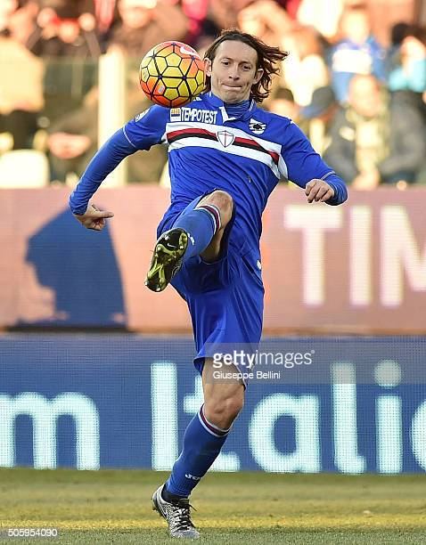 Edgar Osvaldo Barreto of UC Sampdoria in action during the Serie A match between Carpi FC v UC Sampdoria at Alberto Braglia Stadium on January 17...
