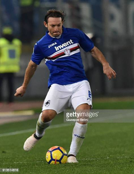 Edgar Osvaldo Barreto of UC Sampdoria in action during the serie A match between AS Roma and UC Sampdoria at Stadio Olimpico on January 28 2018 in...