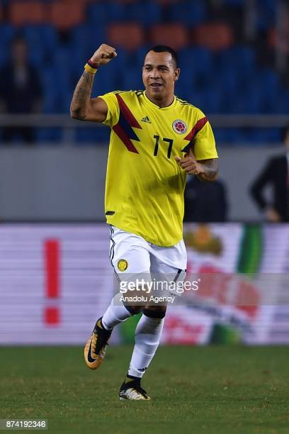 Edgar Pardo of Colombia celebrates after scoring a goal during International Friendly Football Match between China and Colombia at the Chongqing...