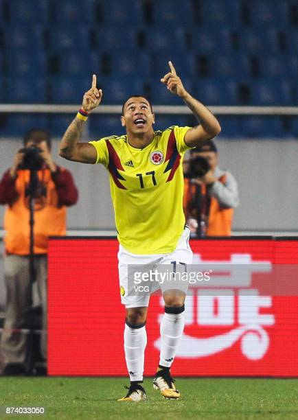 Edgar Pardo of Columbia National Team celebrates a goal during the international friendly match between China and Columbia at Chongqing Olympic...