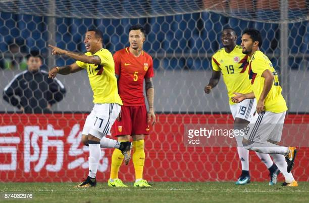 Edgar Pardo of Columbia National Team celebrates a point during the international friendly match between China and Columbia at Chongqing Olympic...